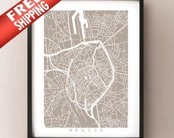 Bruges Map Print - Belgium Poster