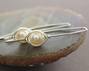 Sterling silver earrings with Swarovski white pearls - Threader earrings - Minimalist earrings - Simple trendy earrings - ER097