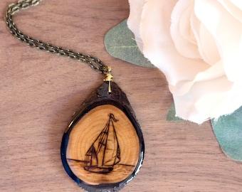 Sailboat Necklace, Sail Boat Necklace, Sailing Necklace, Wood Slice Necklace, Navy Necklace, Sailboat Pendant, Boat Necklace, Beach Necklace