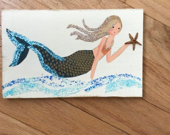 Mermaid, mermaids, mermaid sign, mermaid nursery decor, mermaid decor, coastal art, coastal decor