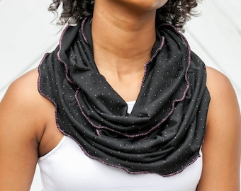 Ruffled Pink  Edge Infinity Scarf Black with Pink Dots Jersey Knit Cowl