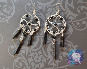 "Earrings ""Pentagram"" | wire earrings, black, magic, Pentacle earrings, pentagram jewelry, wicca boho, quartz crystals jewelry"