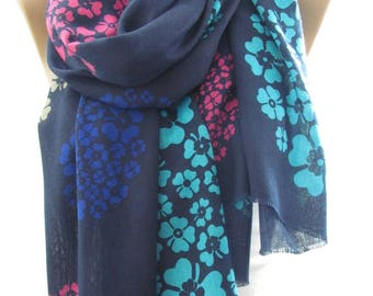 Mothers Day Gift For Her Soft Cotton Scarf Shawl Floral Scarf Navy Scarf Hippie Scarf Bohemian  Fashion Accessories    Boho Scarf Holiday