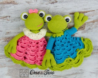 Kelly the Frog Lovey / Security Blanket - PDF Crochet Pattern - Instant Download - Blankie Baby Blanket