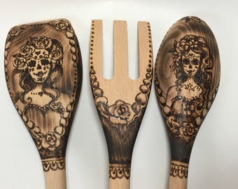 Sugar Skull, Día de Muertos, Day of the Dead, Wood Burned 3 Piece Utensil Set of