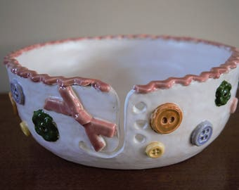 Buttons and a bow yarn bowl