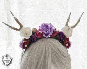 The Forest Nymph headband-flowerd deer horn headpiece-headband-flower headband-gothic headpiece-fantasy