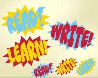 Superhero Classroom Decor Vinyl Wall Decals: Read Write Learn Teacher Decorations, Comic Book Sound Effect Bursts Removable Decal (0179c34v)