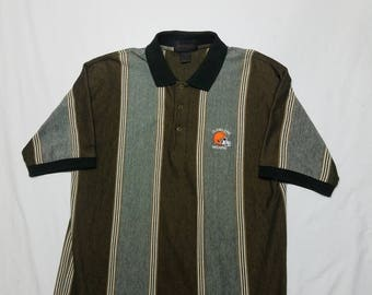 20%OFF Vtg 90s Style Cleveland Browns Short Sleeve Polo Shirt | Vintage Retro Brown Orange Golf Football | Mens Medium Large | TUFF