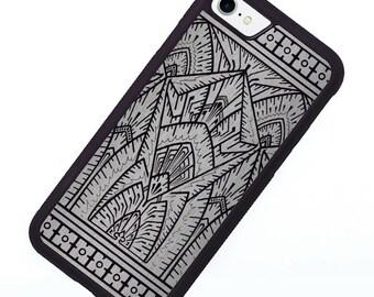Silver Art Deco iPhone 7 Case, Retro Geometric iPhone 8 case, Art Deco, Silicone Rubber Vintage iPhone X Case, iPhone Cover, Smartphone Case