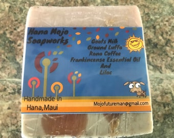 Handmade soap ..with ground Luffa , Kona Coffee , Frankincense essential oils and Lilac