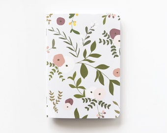 Medium Illustrated Journal | Hand Illustrated Floral Journal, Lined Notebook Stationery : Wild Garden Collection