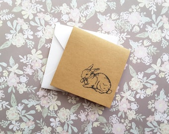"""3"""" Square Fold Note Cards with Envelope / Mini Note cards / Mini Thank You Enclosures / Lovely Bunny / Set of 6"""