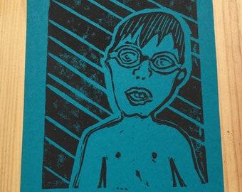 Linocut swimmer postcard