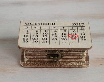 Wedding ring box, Personalized wedding box, Save the Date Ring Bearer Box, Ring box, Calendar ring box, Wedding ring holder, Engagement box