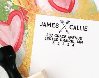 Return Address Stamp, Custom Wedding Stamp, Self-Inking and Wood Mounted Address Stamp, Personalized Stamp - Address Stamp Style No. 65
