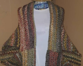 Crochet Sweater Cardigan made with Lion Brand Thick and Quick Wool Ease in Coney Island