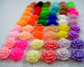 SALE flower Cabochons 10mm -rose beads Flat back (Assorted Colors sample pack) -Center piece Flowers-resin rose cabochon beads