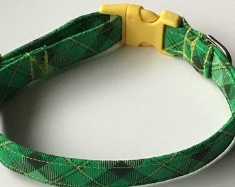 St. Patrick's Day Green and Yellow Plaid Dog & Cat Collar