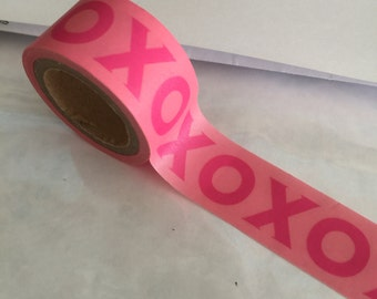Pink XOXO WIDE Washi Tape Roll Valentine Hugs Kisses Valentines Day Card cards wedding crafts planner craft planners masking stickers kiss