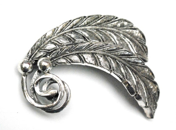 silver leaf Brooch - signed Tortolani - textured silver tone metal  - swirl leaves  Pin