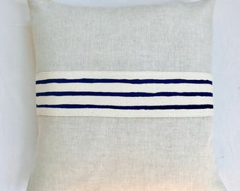 Linen pillow with hand drawn band trim