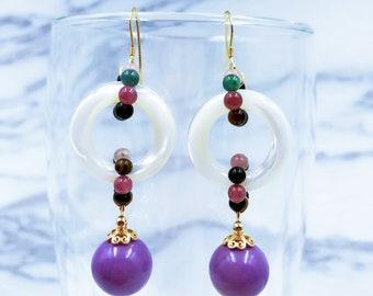 Tourmaline and Purple Onyx Earrings