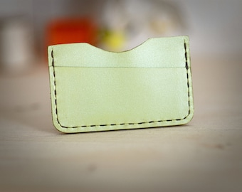 Minimalist slim wallet, wood and leather. lime green. oiled finish .
