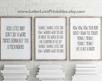 Lullaby Lyric Gift Set for Baby - Nursery Decor - Baby Shower - Typography Art - Digital Print - Wall Hanging - Song Lyrics Quote