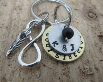 Soul Sisters key chain, hand stamped key chain, Soul Sisters , Soul sister gift, Best friend gift, jewelry, BFF gift,gift for friend