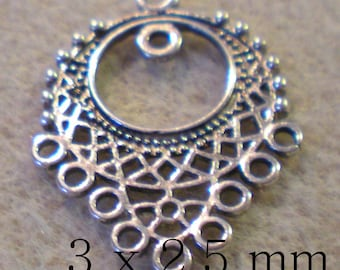 A special connector PENDANT Earrings 3 x 2.5 cm silver