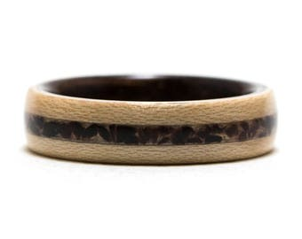 Maple Wood Ring Inner Lined With Ebony And Inlaid With Obsidian, Bentwood Ring, Wooden Ring