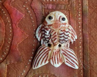 Hand Carved Bone Fish Bead