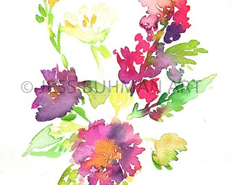 Flower Painting, Print of Flowers, Watercolor Flowers, Abstract Floral Art, Flower Art, Floral Art, Watercolor Print, Abstract Art, Fine Art