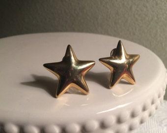 Two Gold Stars / Vintage Earrings / Anne Klein / Clip - on / 1980s / GoldTone / Patriotic / Stars