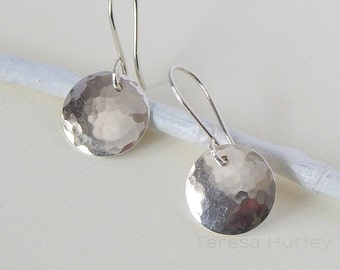Sterling Silver Disc Earrings, Hammered Argentium Silver Earrings, Small Disc Earrings