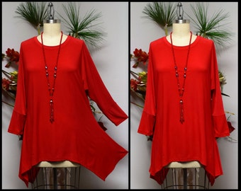 Free Shipping,Lagenlook Tunic, Plus size Tunic, Asymmetrical Tunic, Red Tunic, Plus size top, Women top, Top Seller.