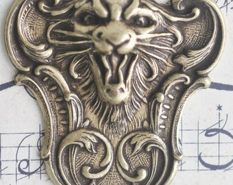 Fierce Tiger Brass Stamping, Brass ox, Brass Stampings, Jewelry and Craft Supplies by Calliopes Attic, Made in the USA