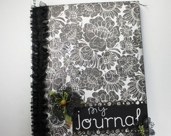 Black and White Journal, Altered Notebook, Memory Book, Diary, Journal, Scrapbook, Special Notebook