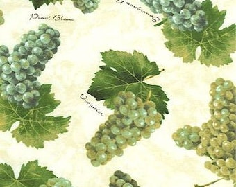 Vineyard - Tossed White Grapes and Varietals on Cream premium cotton fabric from RJR fabrics - retired print