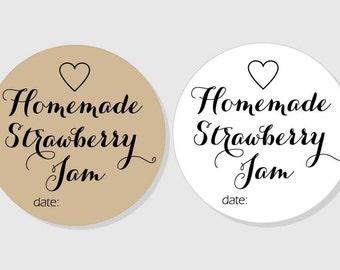 Strawberry Jam Jar Label - Homemade Stickers - kraft & white matte - mason jar labels - 1.5 inch - 2 inch - 2.5 inch - 3 inch Wedding Favors