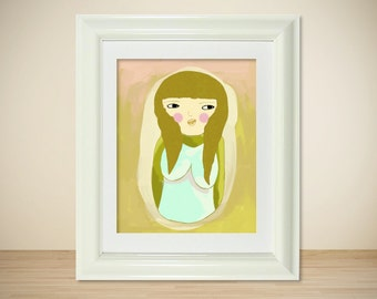 Chicky // Quirky Modern Art Illustration, Digital Print, Giclee, Girl Portrait, Drawing, Modern Art, Poster Print, Art Poster, Quirky