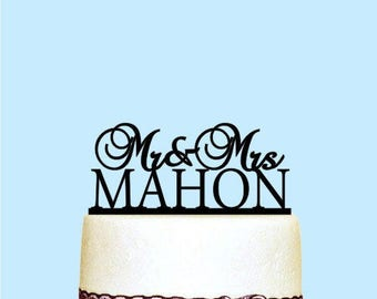 Personalized Custom Wedding Cake Topper with Last Name, Elegant Cake Topper, Rustic Wedding Decor, Script Cake Topper, Black Cake Decor