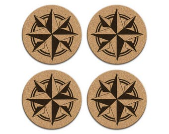 COMPASS ROSE Nautical Coastal Cork Coaster Set Of 4 Home Decor Barware Decoration