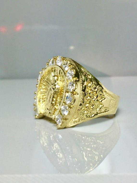 SALE 10k solid gold Men s Virgin Mary Ring Men s