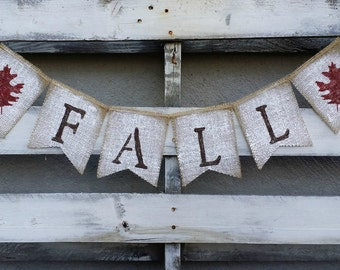 Hand Painted Fall Burlap Banner, Thanksgiving Banner, Autumn Banner, Rustic Fall Decor, Rustic Fall Wedding Decor