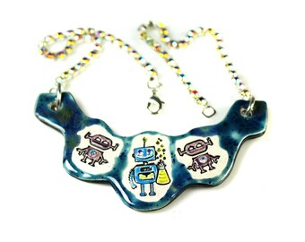 Robot Sparkle Surly Ceramic Necklace with Rhinestone Chain