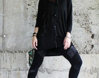 Black Loose Tunic / Oversize Top / Extravagant Maxi Tunic / Drape Top/ B0036