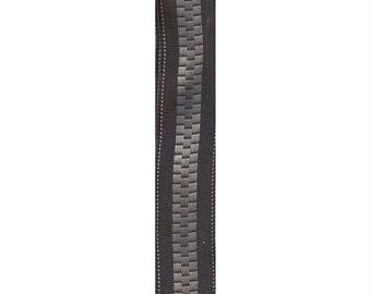 "7/8"" Wired Black / Silver Zipper Ribbon"