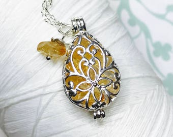 Worry Locket - citrine teardrop locket / living locket / silver locket / locket necklace / citrine necklace / citrine locket /